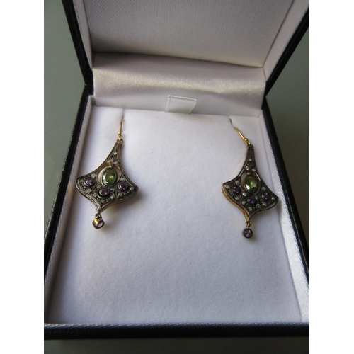 901 - Pair of peridot, amethyst and diamond set drop earrings...
