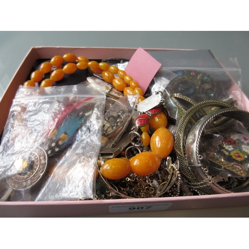 907 - Small box containing a quantity of various silver and costume jewellery etc....