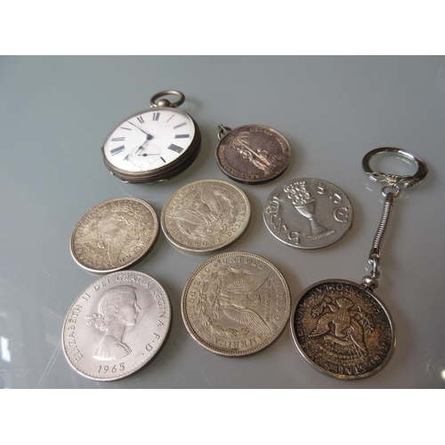 919 - Silver cased open face key wind pocket watch together with a small quantity of various coins...
