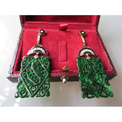 920 - Pair of square panel jade drop earrings set diamonds and black enamel decorated...