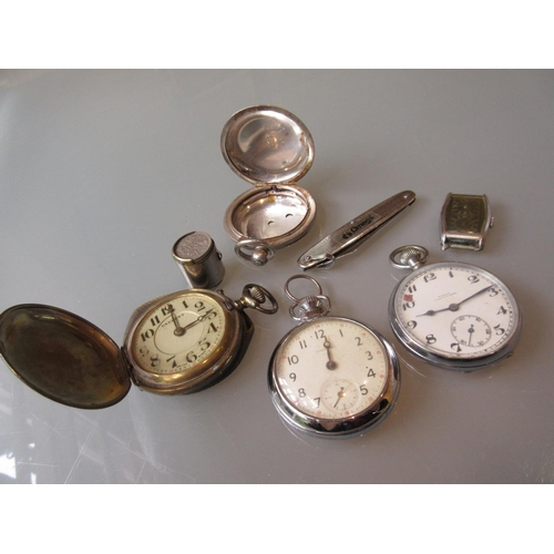 926 - Gentleman's nickel plated two dial watch (at fault), silver  pocket watch case and three various poc...