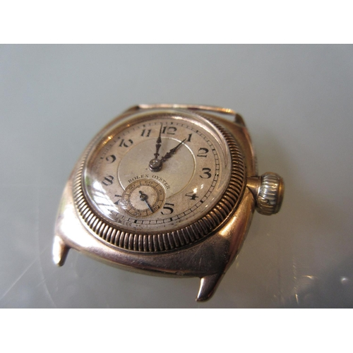 927 - Gentleman's 1920's Rolex Oyster 9ct gold cased wristwatch, the gilded dial with Arabic numerals and ...