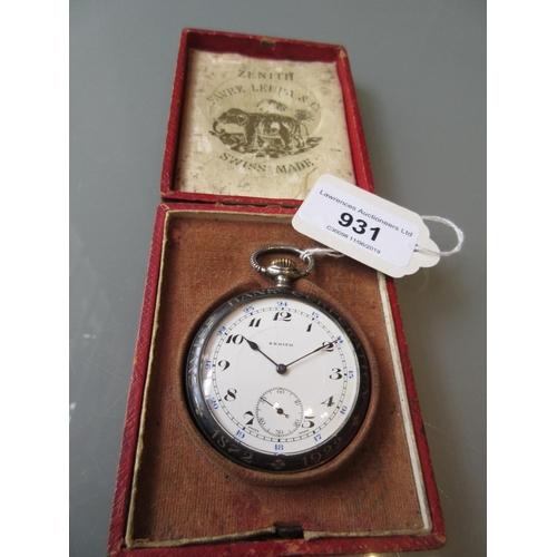 931 - Zenith Swiss silver cased open face crown wind pocket watch, Niello decorated with a portrait, the e...