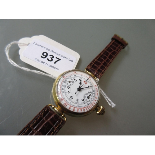 937 - 1920's circular Continental 18ct gold cased chronograph wristwatch, the enamel dial with Arabic nume...