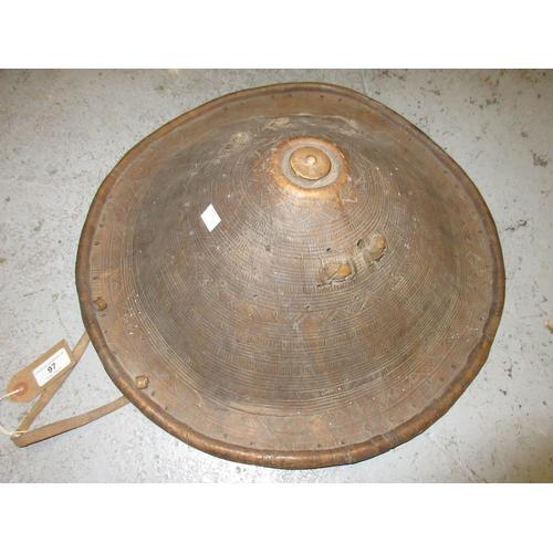 97 - Antique African animal skin shield...