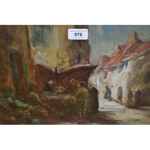 976 - Thomas William Morley, watercolour, Breton street scene, signed, 9.5ins x 13.5ins, gilt framed...