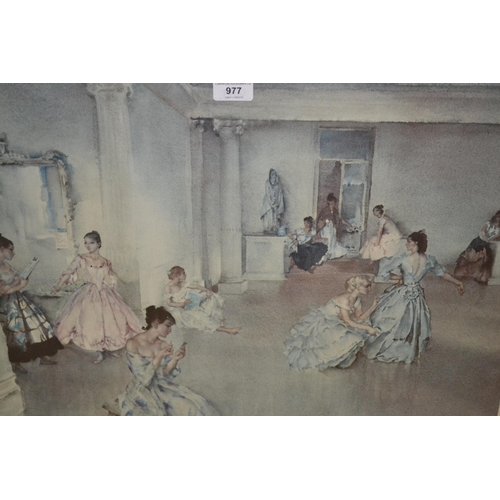 977 - Sir William Russell Flint, two prints, ' Casual Assembly ', gilt framed (at fault), and ' The Dance ...