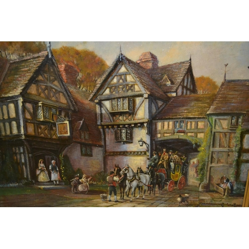 979 - Tom Keating, oil on canvas, group of figures before a timber framed building, signed, 18ins x 24ins,...