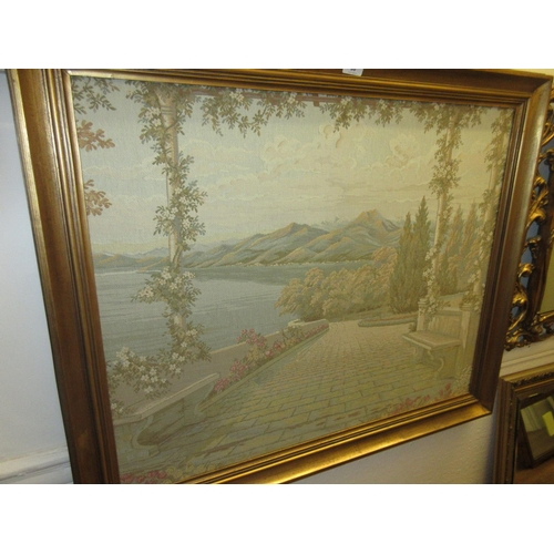 98 - Rectangular gilt framed machine woven tapestry picture together with a reproduction vintage style ra...