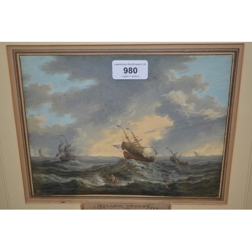 980 - Willem Troost I (1684 - 1759), watercolour, square riggers in a heavy sea, signed W. Troost, 7ins x ...