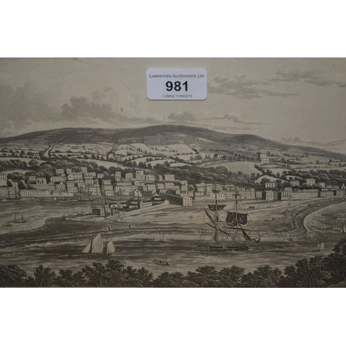 981 - 19th Century engraving, view of Teignmouth, published 1817 by E. Croydon...