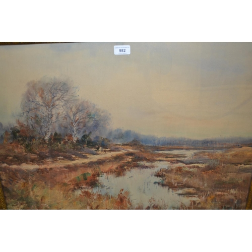 982 - C. Jacquet, early 20th Century watercolour, river landscape, signed, 20.5ins x 28.5ins, gilt framed...