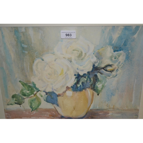 983 - Marion Broom, watercolour, still life vase of white roses, signed, 11.5ins x 15ins, framed...