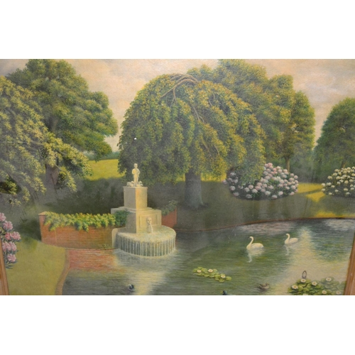 984 - S.H. Davies, 20th Century oil on board, lake scene with stone fountain, signed and dated 1944, 24ins...