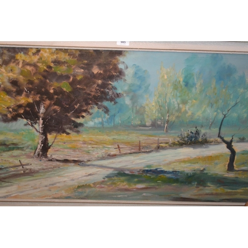 985 - Mantini 20th Century oil on canvas, rural landscape with track to foreground, signed, 23ins x 46ins,...