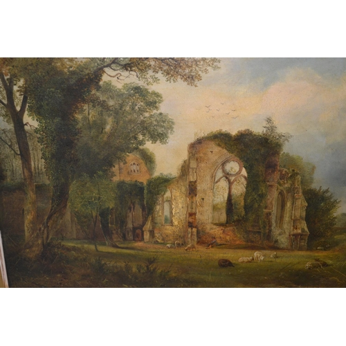 986 - Thomas Creswick, 19th Century oil on canvas, sheep before church ruins, signed and dated 1856, 11.5i...