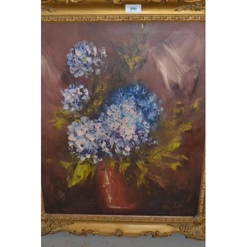990 - Charles Lefar ?, oil on canvas, still life, 24ins x 20ins, gilt framed...