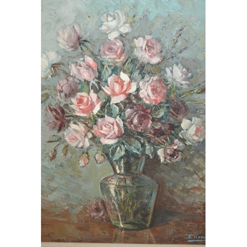 992 - Eliseo Pala, 20th Century oil on canvas, still life study, a vase of roses, signed, 23ins x 18ins, f...