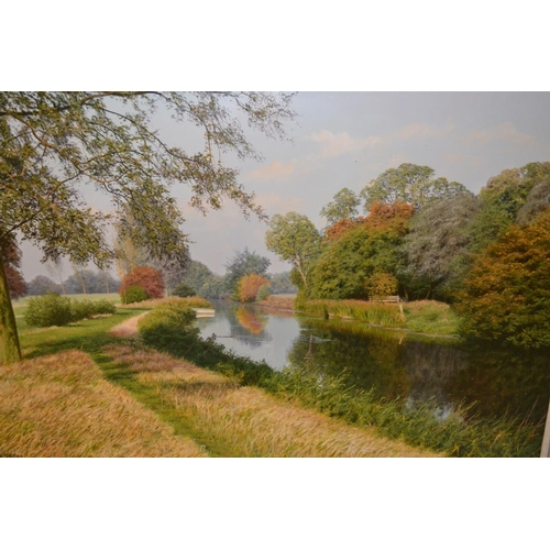 996 - David Smith, oil on canvas, rural river scene with a moored boat, signed, 26ins x 36ins, gilt framed...