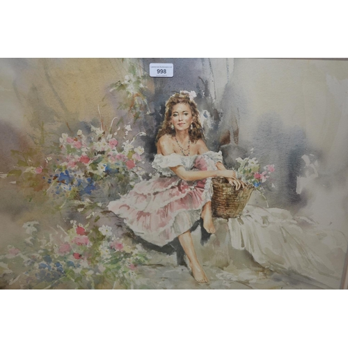 998 - Gordon King, watercolour, study of a seated girl wearing a pink dress with a basket of flowers, 20in...