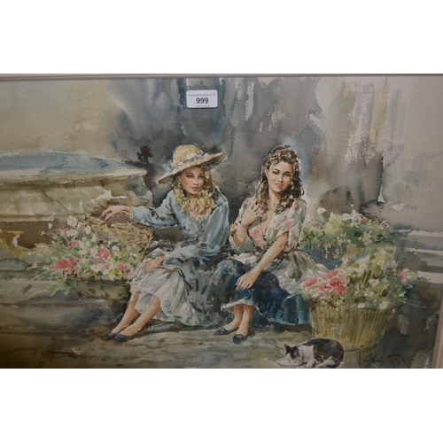 999 - Gordon King, watercolour, two girls with baskets of flowers, cat to the foreground, 20ins x 30ins, g...