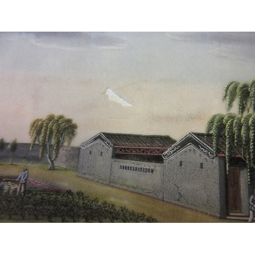 1160 - 19th Century Chinese album containing twelve watercolours on rice paper, views in a tea plantation i...