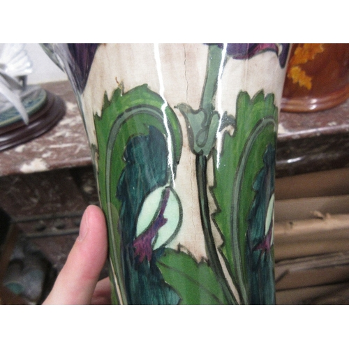 627 - Pair of Dutch floral decorated Art Nouveau style vases, 16.5ins high (at fault)...