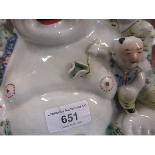 651 - 20th Century Chinese porcelain figure of seated Buddha with attendants, signed with seal mark and ch...