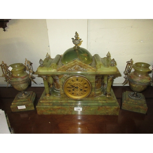 1346 - Late Victorian green onyx clock garniture with gilt metal mounts, the gilded dial with Roman numeral...