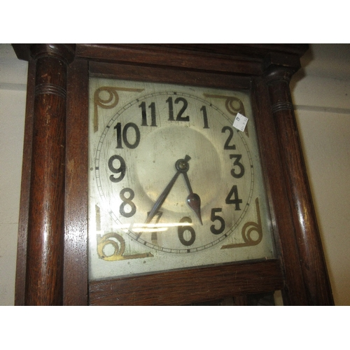 1370 - 1930's oak Vienna style rectangular wall clock with a silvered dial, Arabic numerals and two train m...