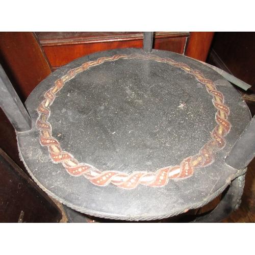 1957 - Pair of circular 19th Century French ebonised and inlaid etajere...