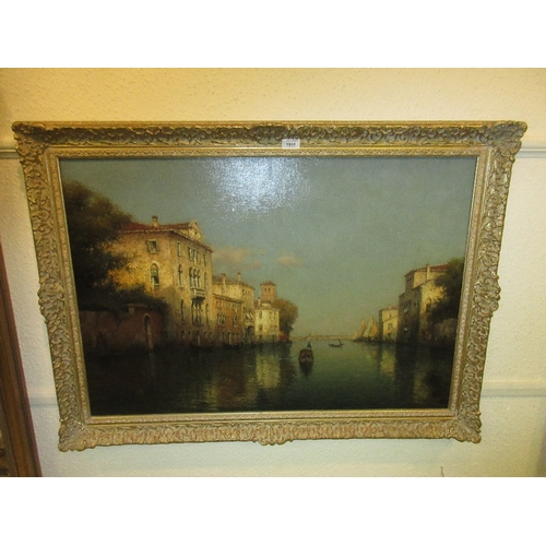 1031 - Antoine Bouvard, oil on canvas, Venetian canal scene with gondolas and sailing vessels, signed Bouva...