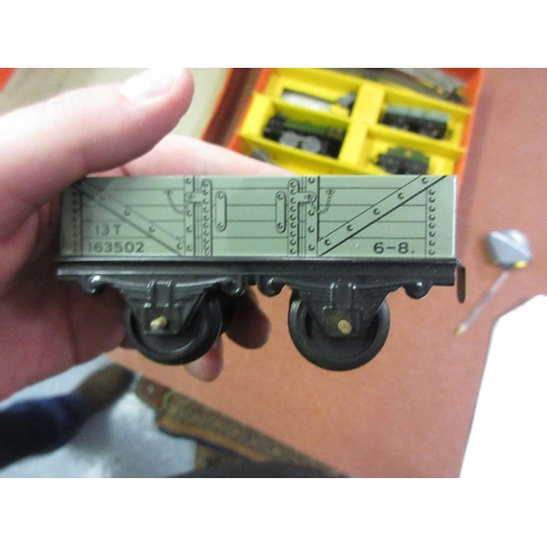 380 - Boxed Hornby clockwork tin plate railway goods set, No. 20...