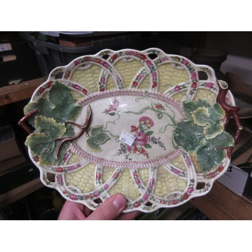 654 - Four Victorian floral painted cabinet plates, pair of Staffordshire pottery figures of spaniels and ...