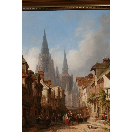 1002 - Caleb Robert Stanley, oil on canvas, street scene in Rouen with numerous traders and a cathedral in ...