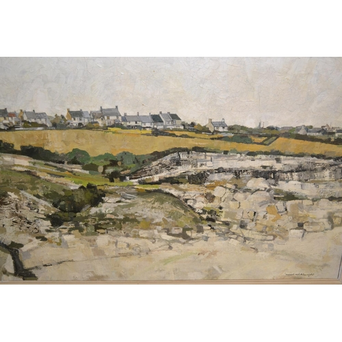 1009 - Robert Micklewright, 20th Century oil on canvas, landscape with rocks to the foreground and distant ...