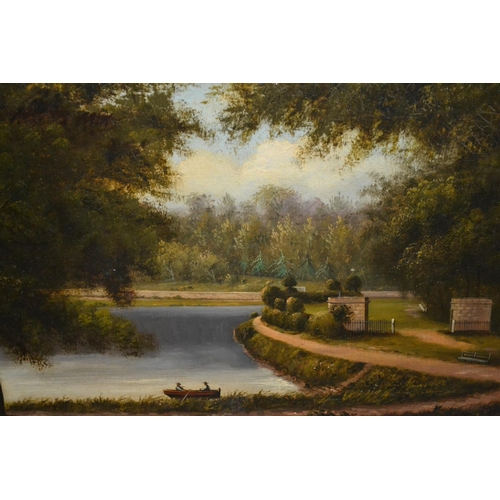1015 - A. Gilbert, pair of 19th Century oils on canvas, lake scenes with figures in rowing boats, inscribed...