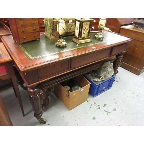 1544 - Victorian mahogany library table, the green tooled leather inset top above three frieze drawers rais...