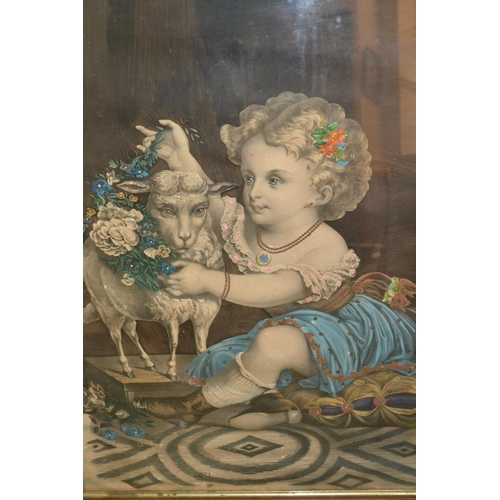 1017 - 19th Century maple framed lithograph, child and a sheep...