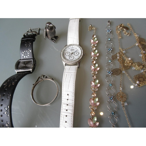 789 - Two ladies designer wristwatches by Bench and Oasis, together with a small quantity of various costu...