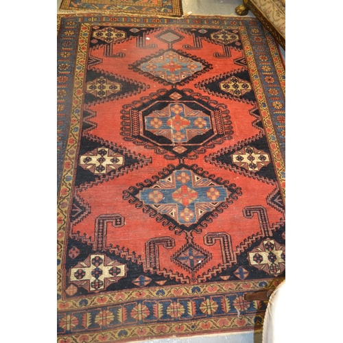 1 - Kurdish rug having central medallion on deep blue and rust ground with multiple borders, 5ft x 3ft...