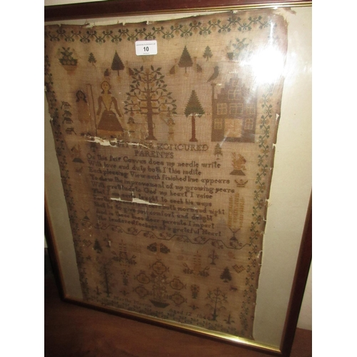 10 - 19th Century pictorial woolwork sampler by Martha Morris, aged 12, 1844 (at fault)...