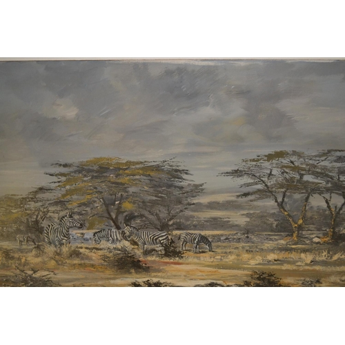 1003 - J.F. Adams, 20th Century oil on canvas, zebra in a landscape, signed, 25.5ins x 39.5ins, framed...