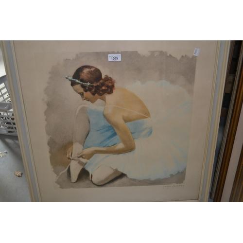 1005 - J.D. Van Caulaert, signed print of a ballerina, framed...