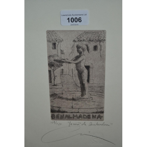 1006 - Salvador Chica Jimenez, signed etching, figure study, No. 123 of 250, framed...
