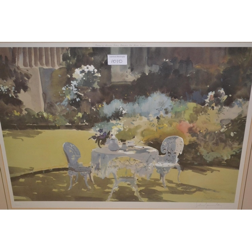 1010 - John Yardley, signed coloured print, still life of flowers in a jug, bearing a Fine Art Trade Guild ...