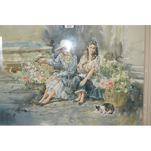 1013 - Gordon King, watercolour, two girls with baskets of flowers, cat to the foreground, 20ins x 30ins, g...