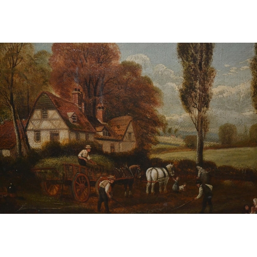 1016 - Pair of 19th Century oils on canvas, harvesting scenes in Yorkshire, 8.5ins x 12.5ins, gilt framed...