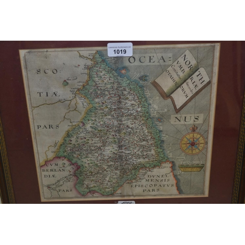 1019 - Antique hand coloured Saxton map of Northumberland, framed, 15ins x 18ins overall...
