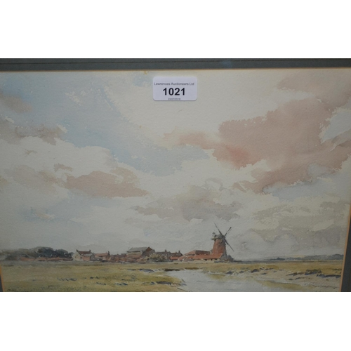1021 - Gerald Ackermann, watercolour, village and windmill in a landscape, signed, 9ins x 13ins, gilt frame...